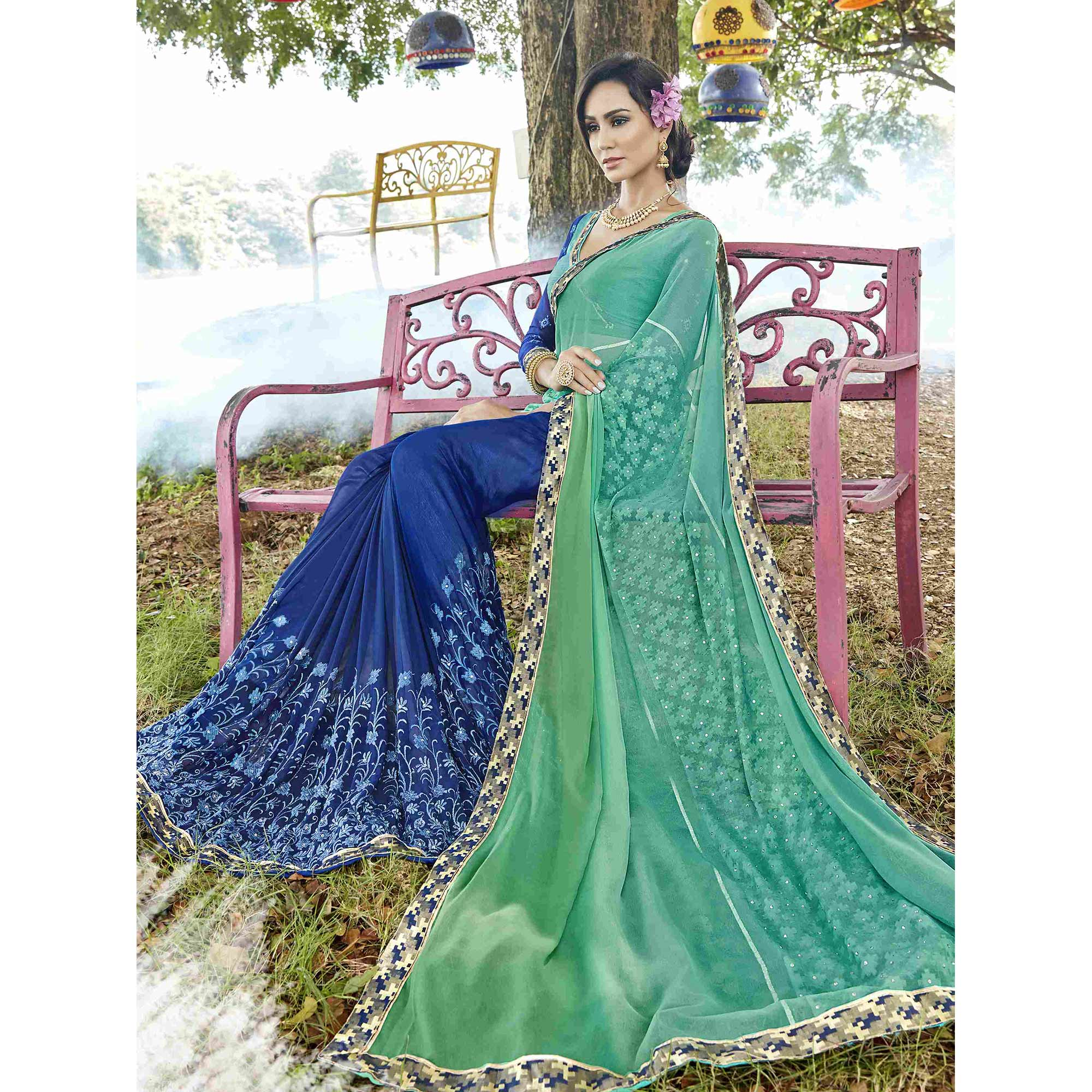 Prominent Turquoise Green-Blue Colored Partywear Embroidered Georgette Half-Half Saree