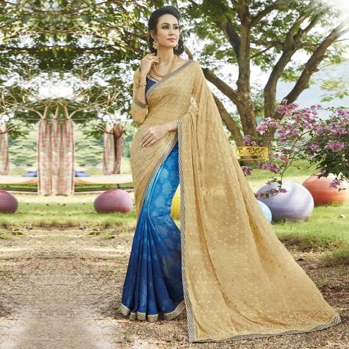 Capricious Blue-Beige Colored Partywear Embroidered Georgette Half-Half Saree