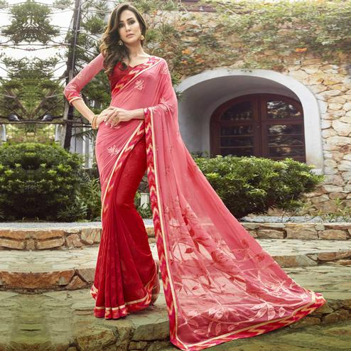 Adorning Pink-Red Colored Partywear Embroidered Georgette Half-Half Saree