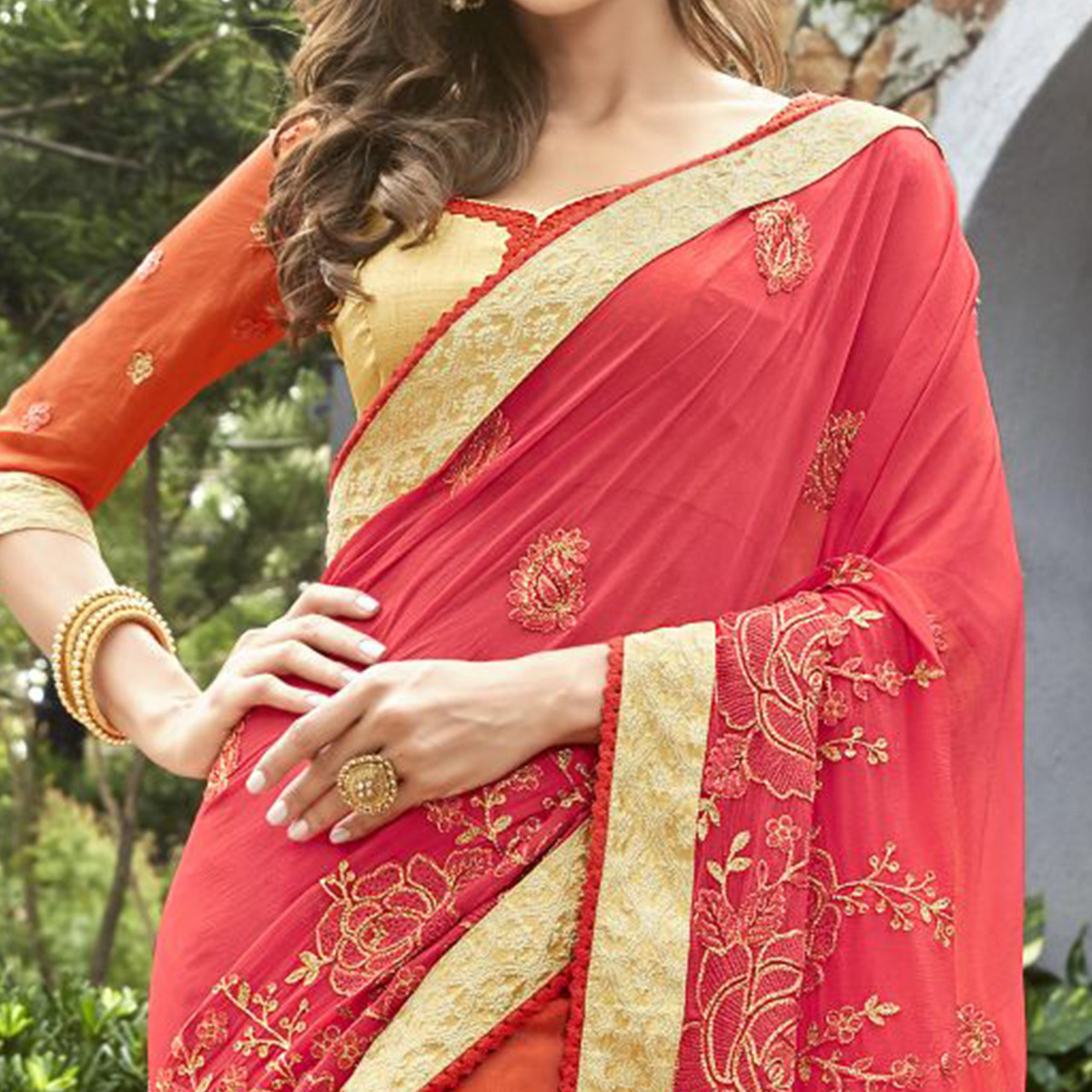 Flirty Pink Colored Partywear Embroidered Georgette-Jacquard Half-Half Saree