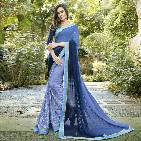 Glowing Light Blue Colored Partywear Embroidered Georgette-Jacquard Half-Half Saree