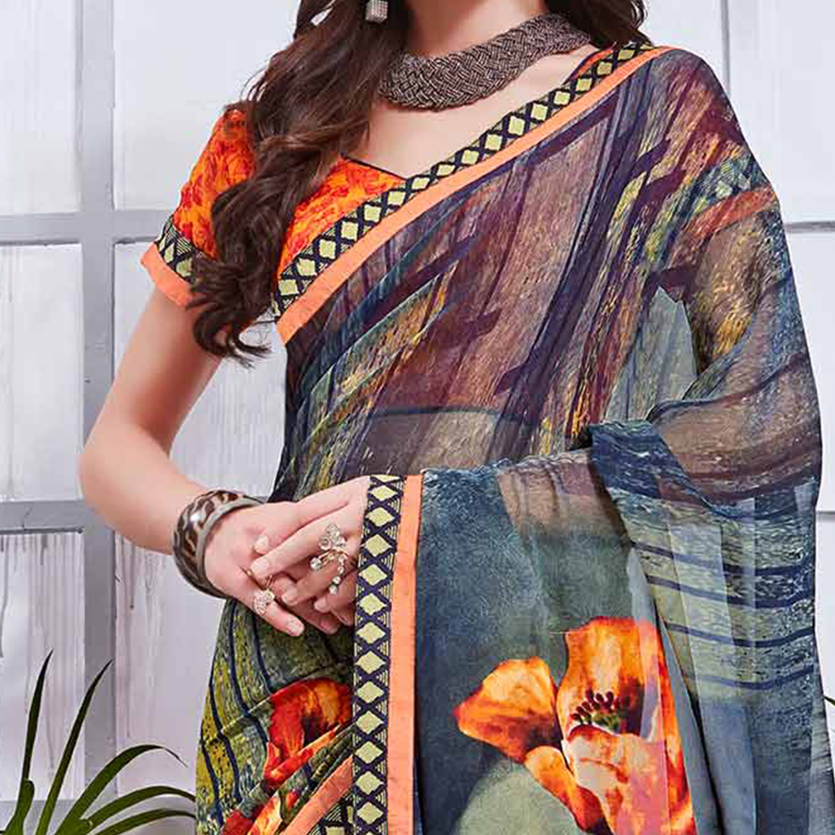 Multi Printed Georgette Saree