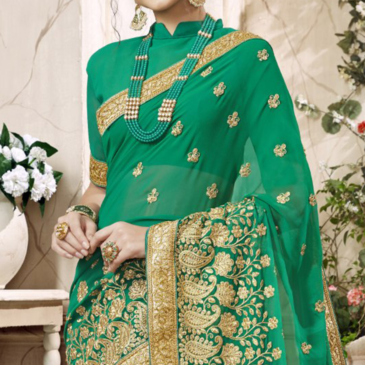 Refreshing Green Colored Partywear Embroidered Faux Georgette Saree