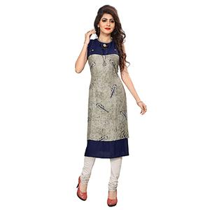 Navy Blue and Grey Digital Printed Designer Rayon Kurti
