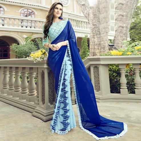 Charming Sky Blue Colored Casual Wear Printed Chiffon-Faux Georgette Saree