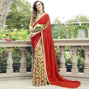 Ravishing Beige - Red Colored Casual Wear Printed Chiffon-Faux Georgette Saree