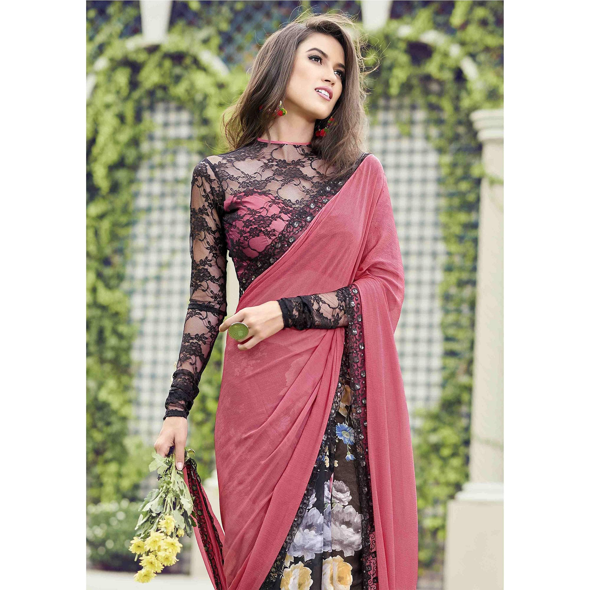 85dc45b633a Delightful Pink - Black Colored Casual Wear Printed Chiffon-Faux Georgette  Saree