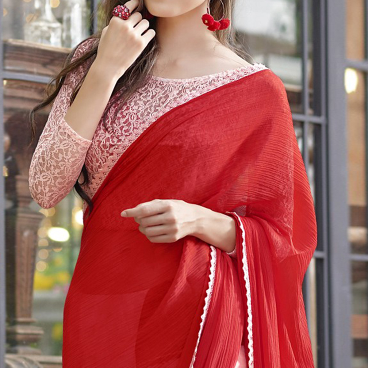 Stunning Red - Pink Colored Casual Wear Printed Chiffon-Faux Georgette Saree