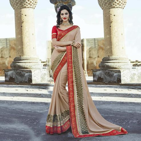 Adorable Beige Colored Party Wear Embroidered Chiffon Saree