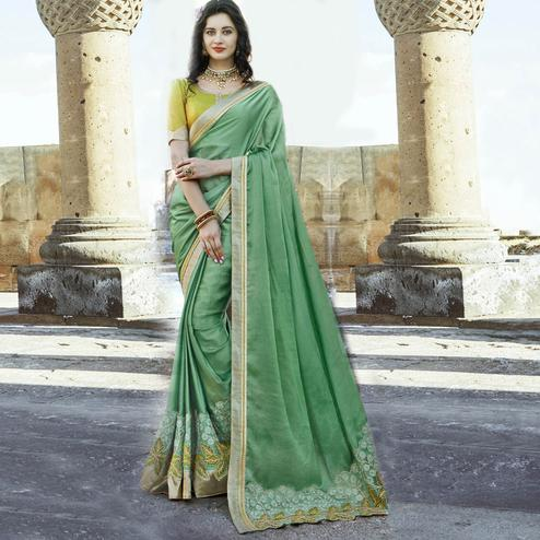 Beautiful Green Colored Party Wear Embroidered Chiffon Saree