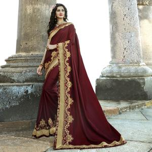 Attractive Maroon Colored Party Wear Embroidered Chiffon Saree