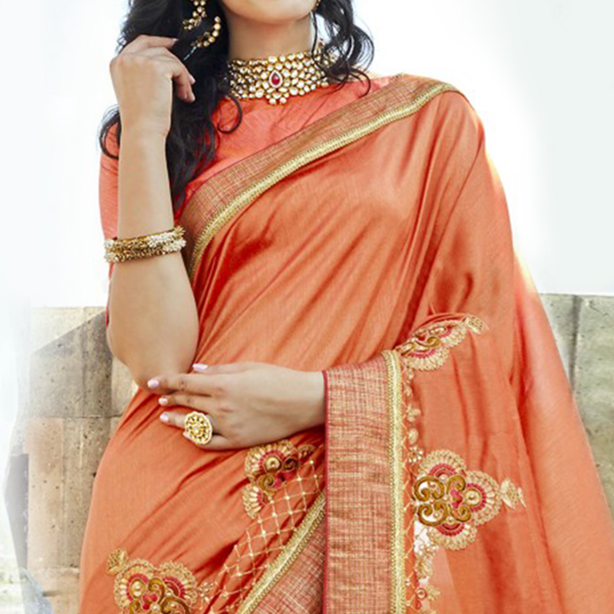 Charming Orange Colored Party Wear Embroidered Chanderi Silk Saree