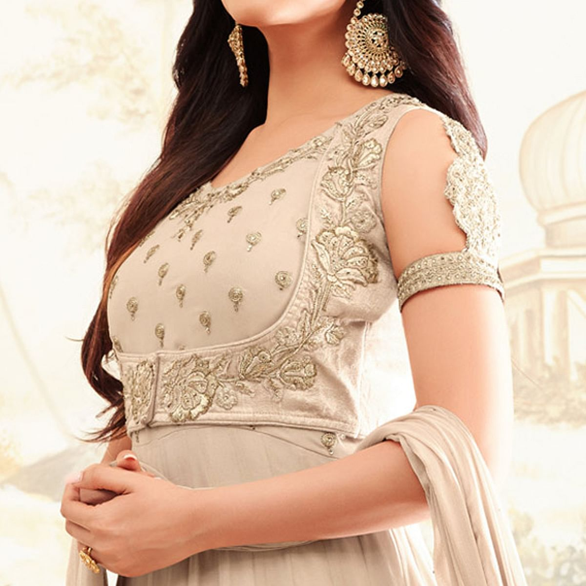 Gorgeous Beige Colored Party Wear Embroidered Georgette Anarkali Suit
