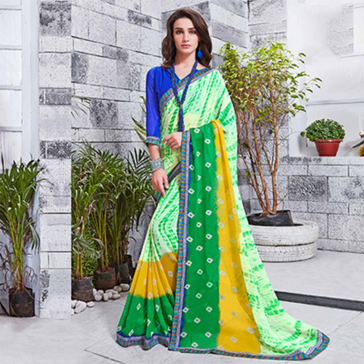 Ravishing Green Printed Georgette Saree