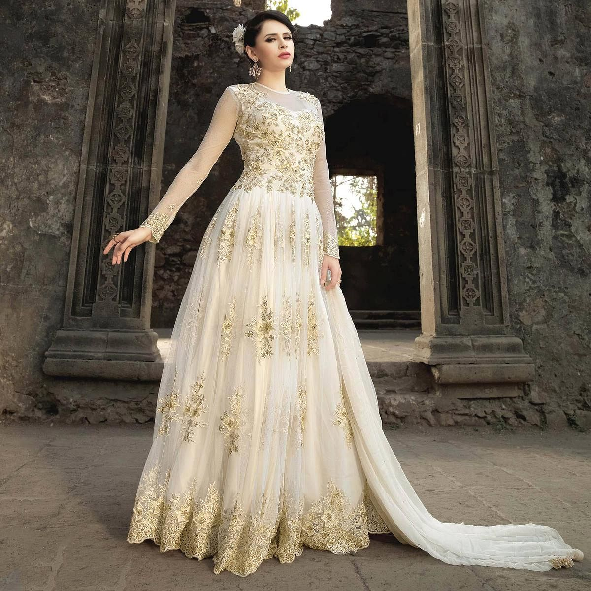 White Colored Party Wear Embroidered Banarasi Silk Anarkali Suit