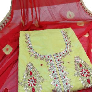 Gleaming Green Colored Partywear Embroidered Modal Material