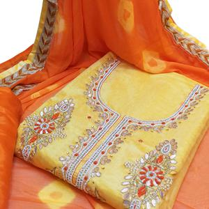 Adorable Yellow Colored Partywear Embroidered Modal Material
