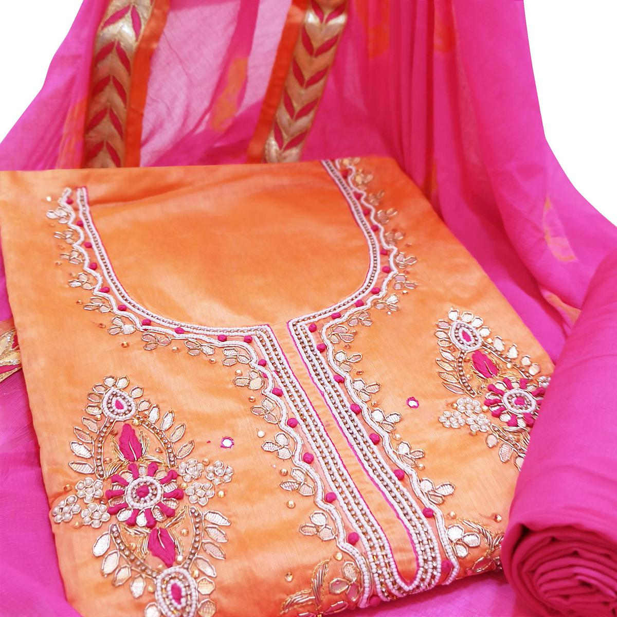 Exceptional Orange Colored Partywear Embroidered Modal Material