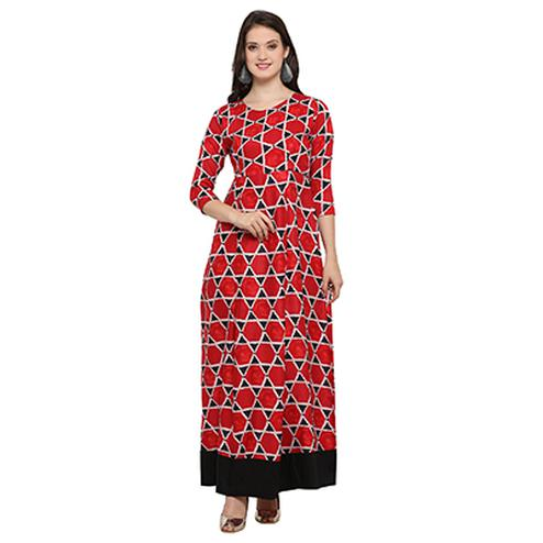 Red Digital Printed Designer Rayon Kurti