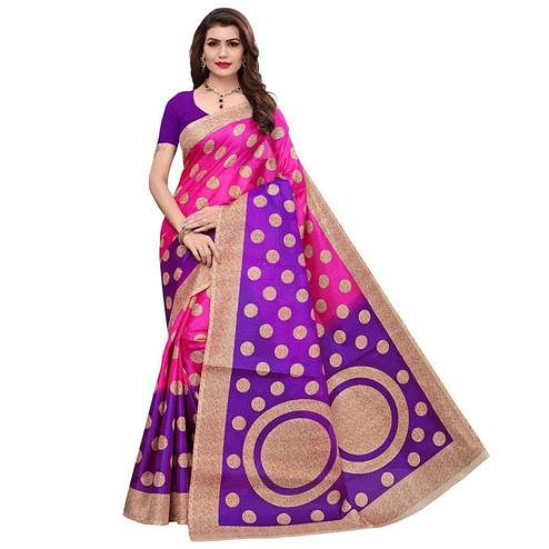 Beautiful Pink Colored Casual Printed Art Silk Saree