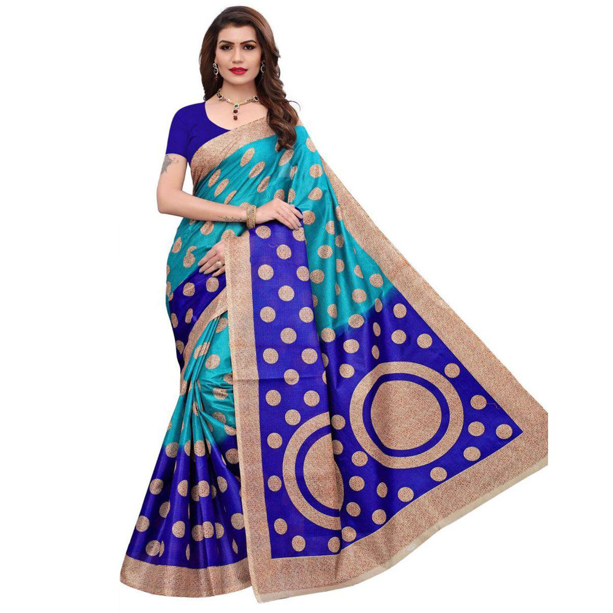 Lovely Blue Colored Casual Printed Art Silk Saree