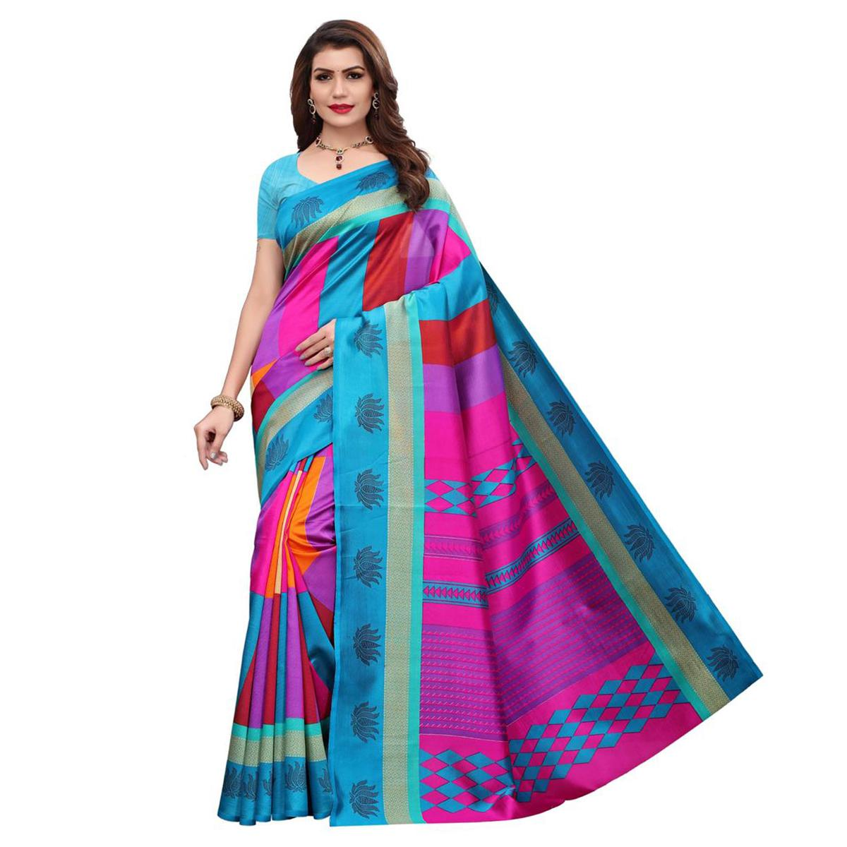 Attractive Rama-Multi Colored Casual Printed Art Silk Saree