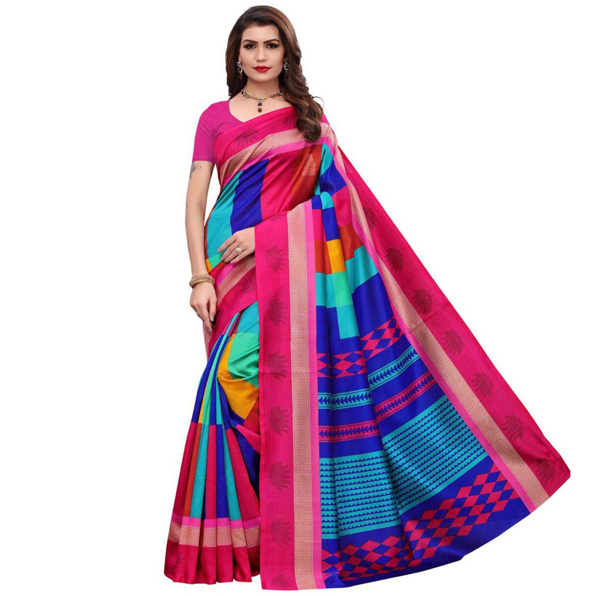 Eye-Catching Pink-Multi Colored Casual Printed Art Silk Saree