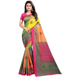 Adorable Pink-Multi Colored Casual Printed Art Silk Saree