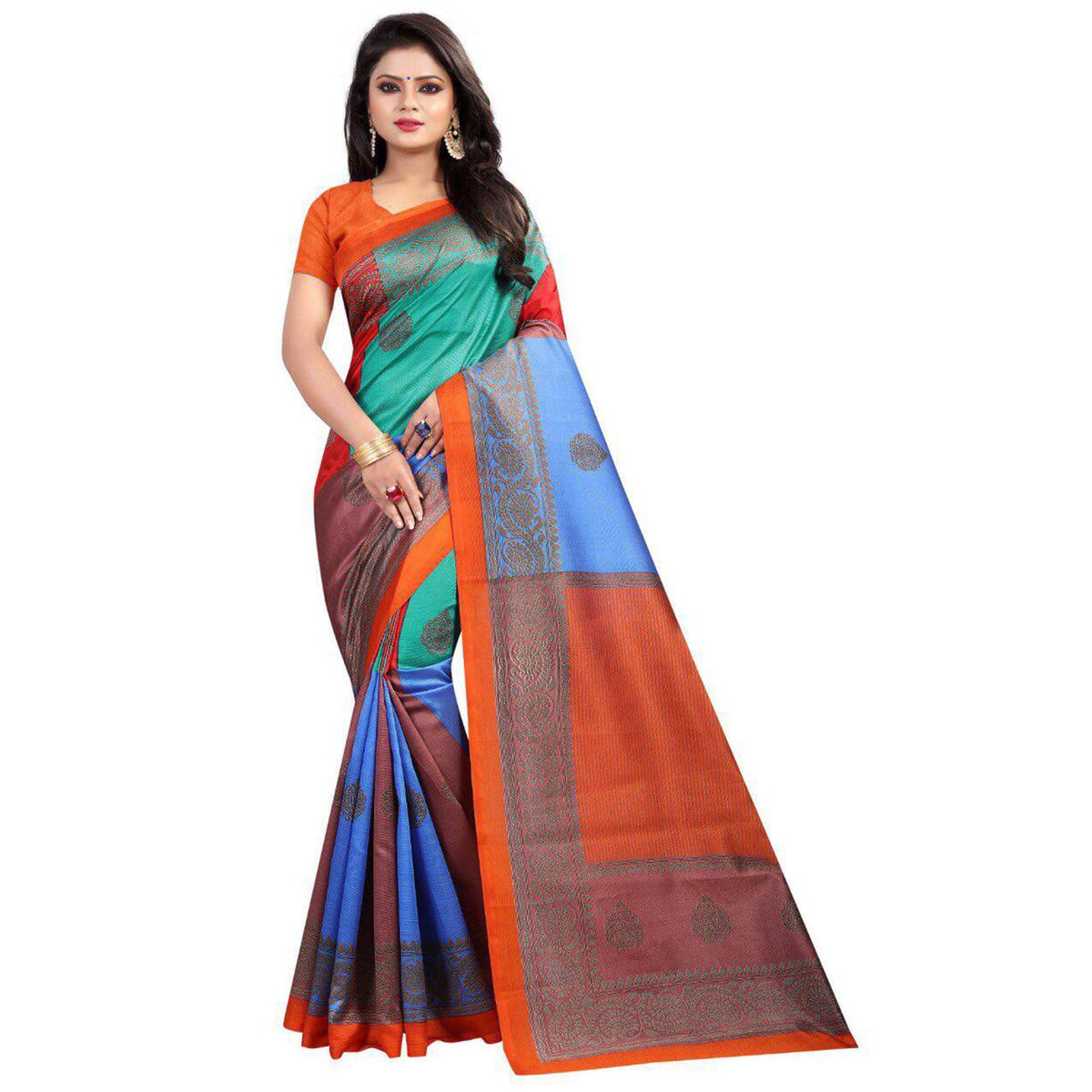 Gorgeous Orange-Multi Colored Casual Printed Art Silk Saree