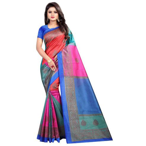 Classy Blue-Multi Colored Casual Printed Art Silk Saree