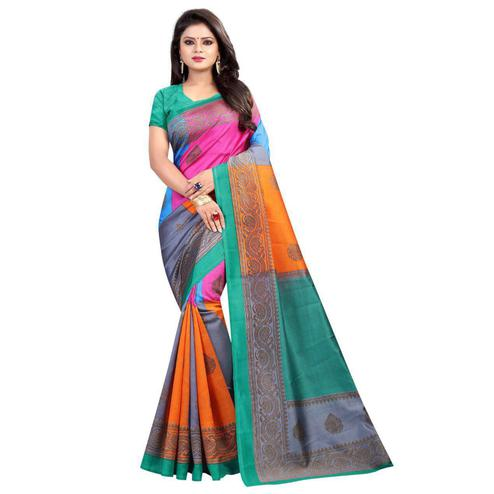 Glorious Green-Multi Colored Casual Printed Art Silk Saree
