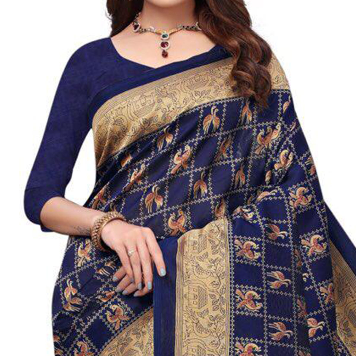 Flattering Navy Blue Colored Casual Printed Art Silk Saree