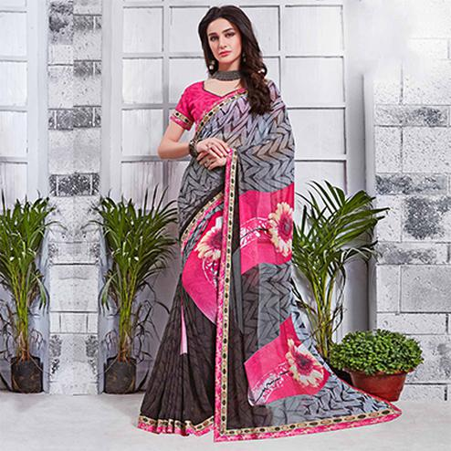 Gorgeous Gray Printed Georgette Saree