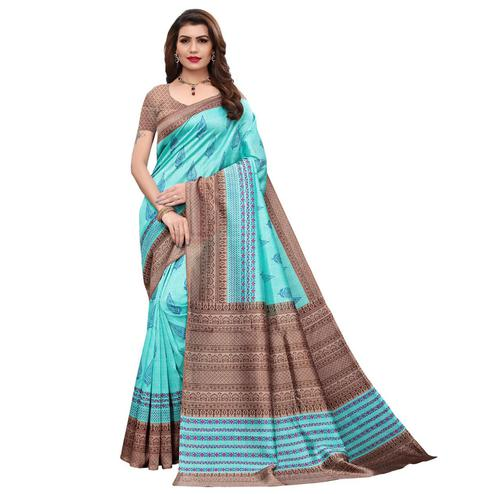 Pretty Rama Colored Casual Printed Art Silk Saree