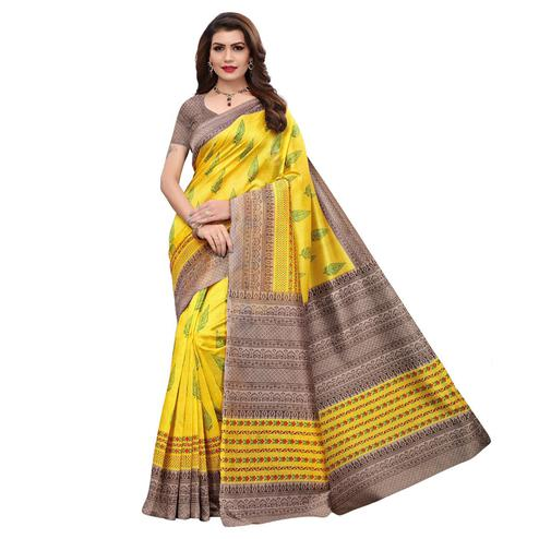 Ravishing Yellow Colored Casual Printed Art Silk Saree