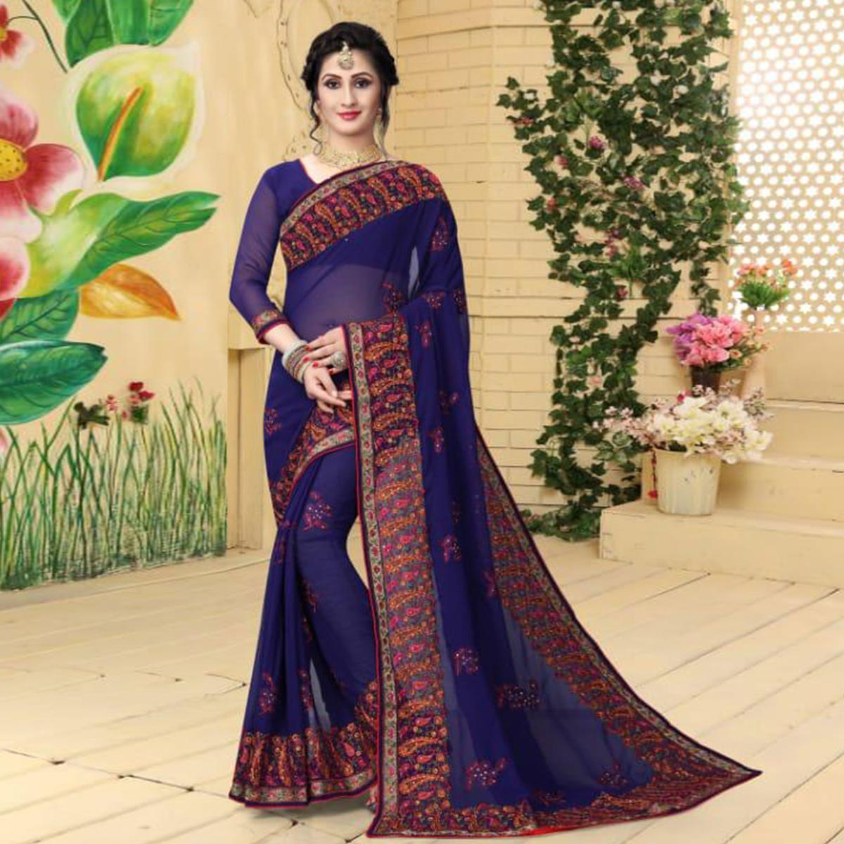 Majestic Blue Colored Partywear Embroidered Georgette Saree