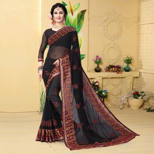 Flaunt Black Colored Partywear Embroidered Georgette Saree