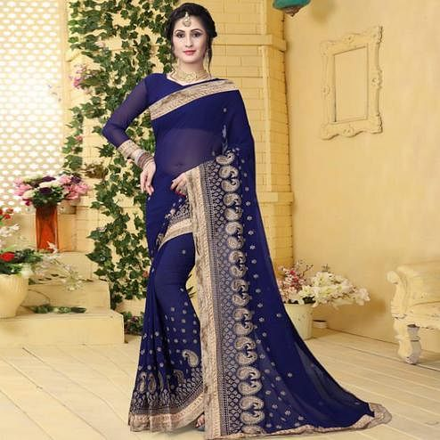 Beautiful Blue Colored Partywear Embroidered Georgette Saree