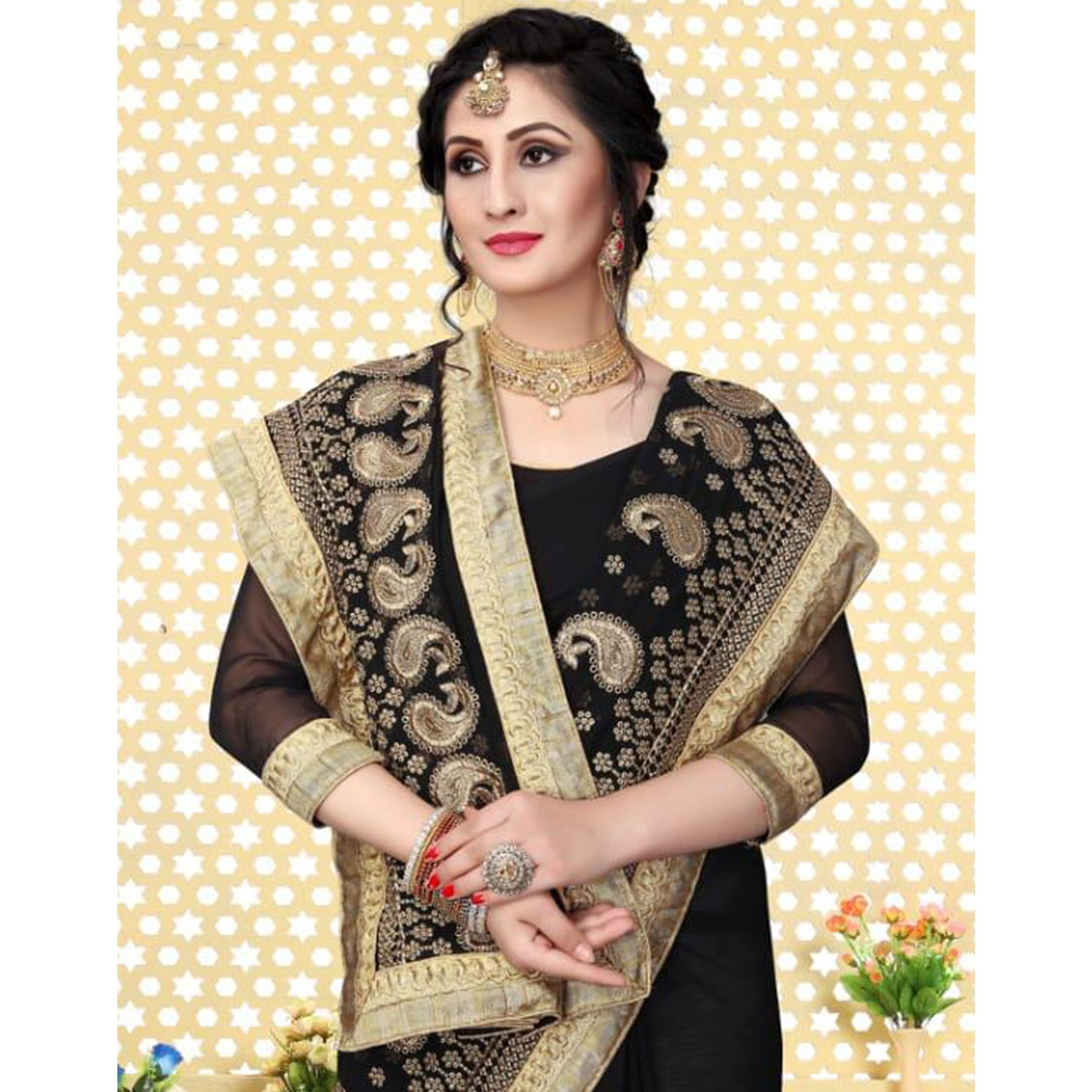 Attractive Black Colored Partywear Embroidered Georgette Saree