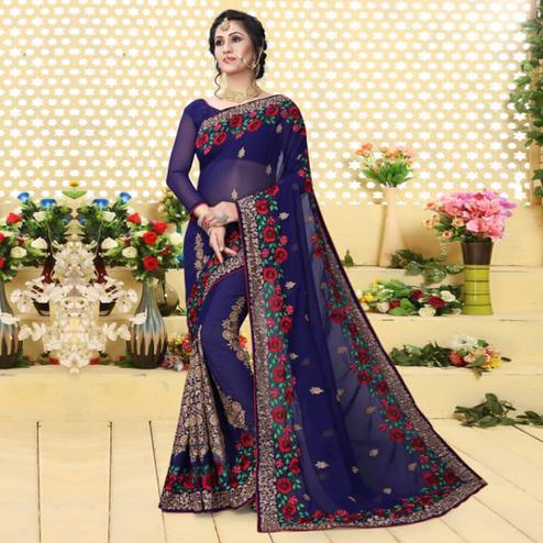 Appealing Blue Colored Partywear Embroidered Georgette Saree