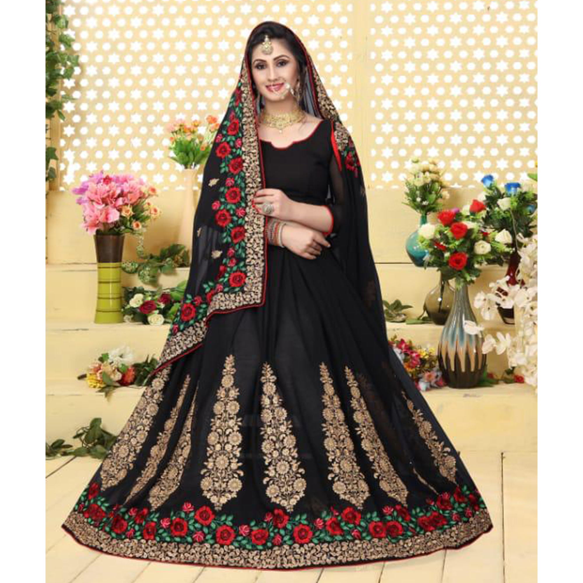 Impressive Black Colored Partywear Embroidered Georgette Saree