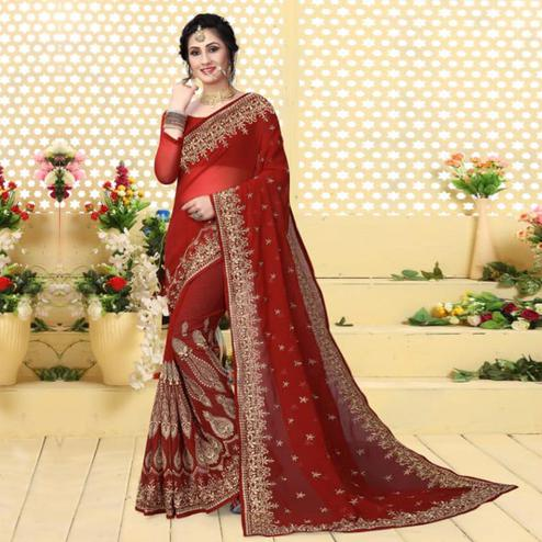 Blooming Red Colored Partywear Embroidered Georgette Saree