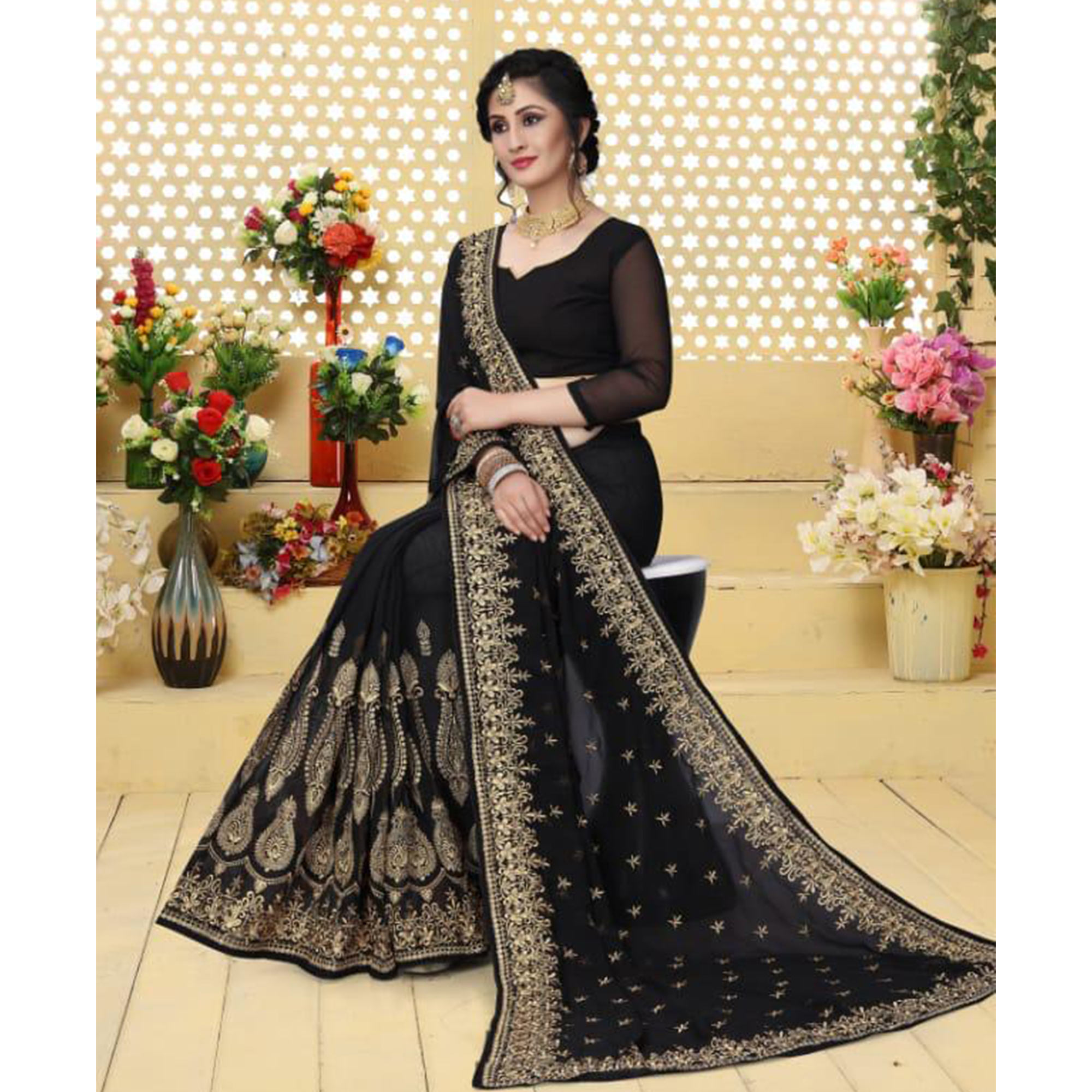 Gleaming Black Colored Partywear Embroidered Georgette Saree