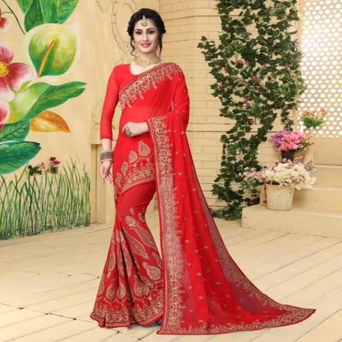 Groovy Red Colored Partywear Embroidered Georgette Saree