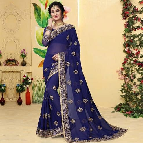 Gorgeous Blue Colored Partywear Embroidered Georgette Saree