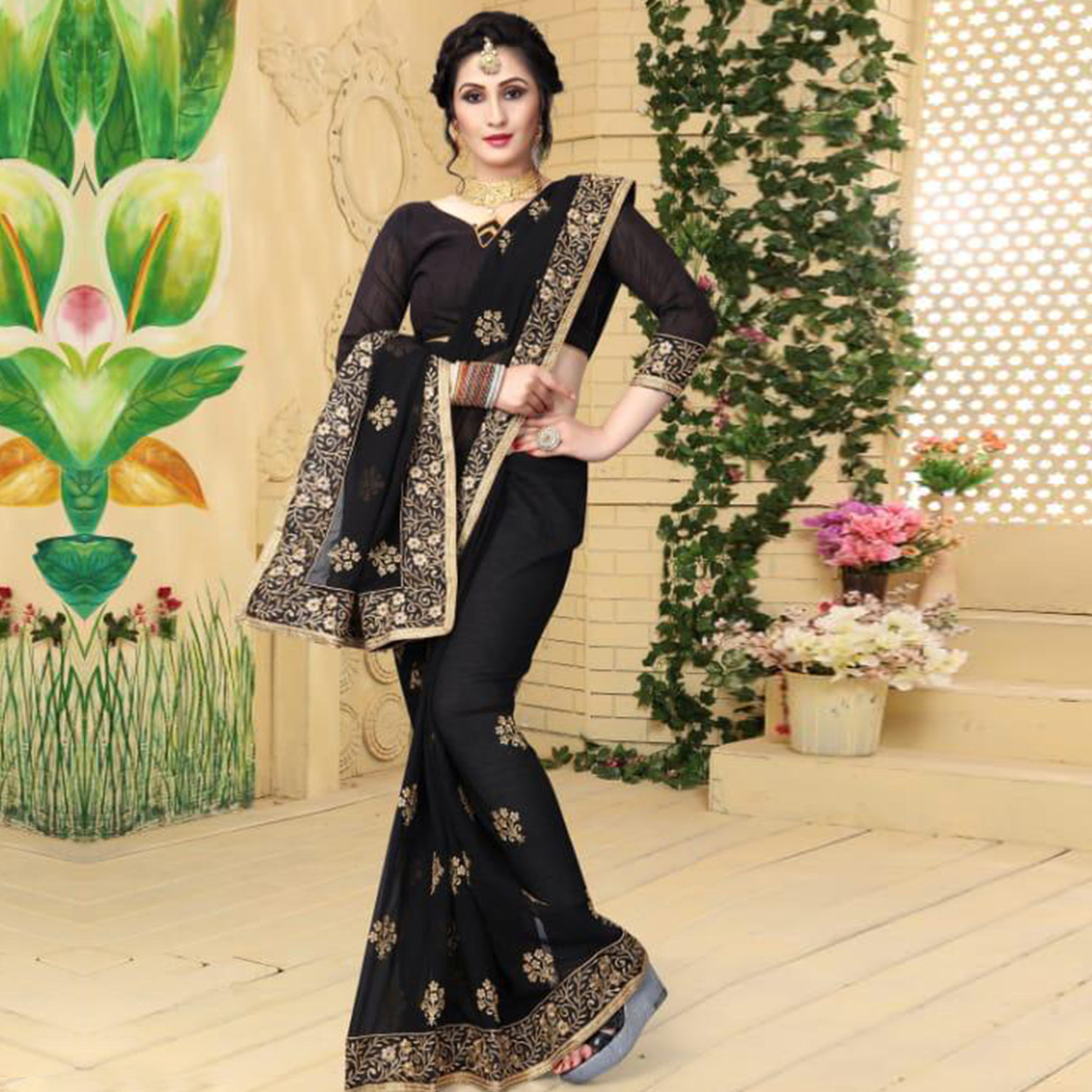 Marvellous Black Colored Partywear Embroidered Georgette Saree