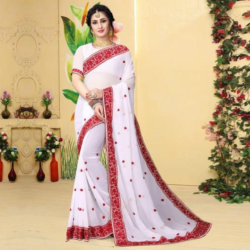 Adorable White Colored Partywear Embroidered Georgette Saree
