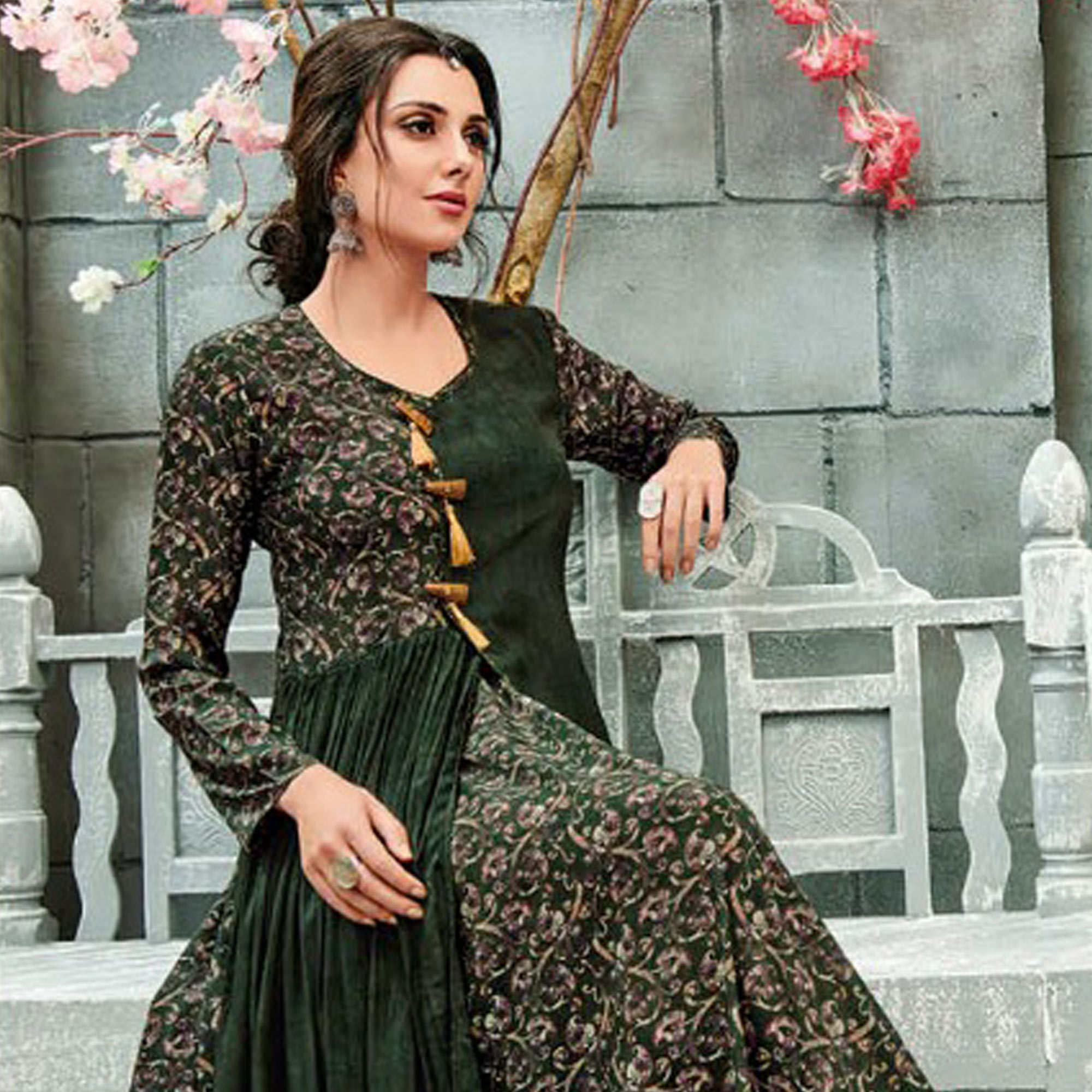 Gleaming Green Colored Partywear Printed Crepe-Georgette Long Kurti