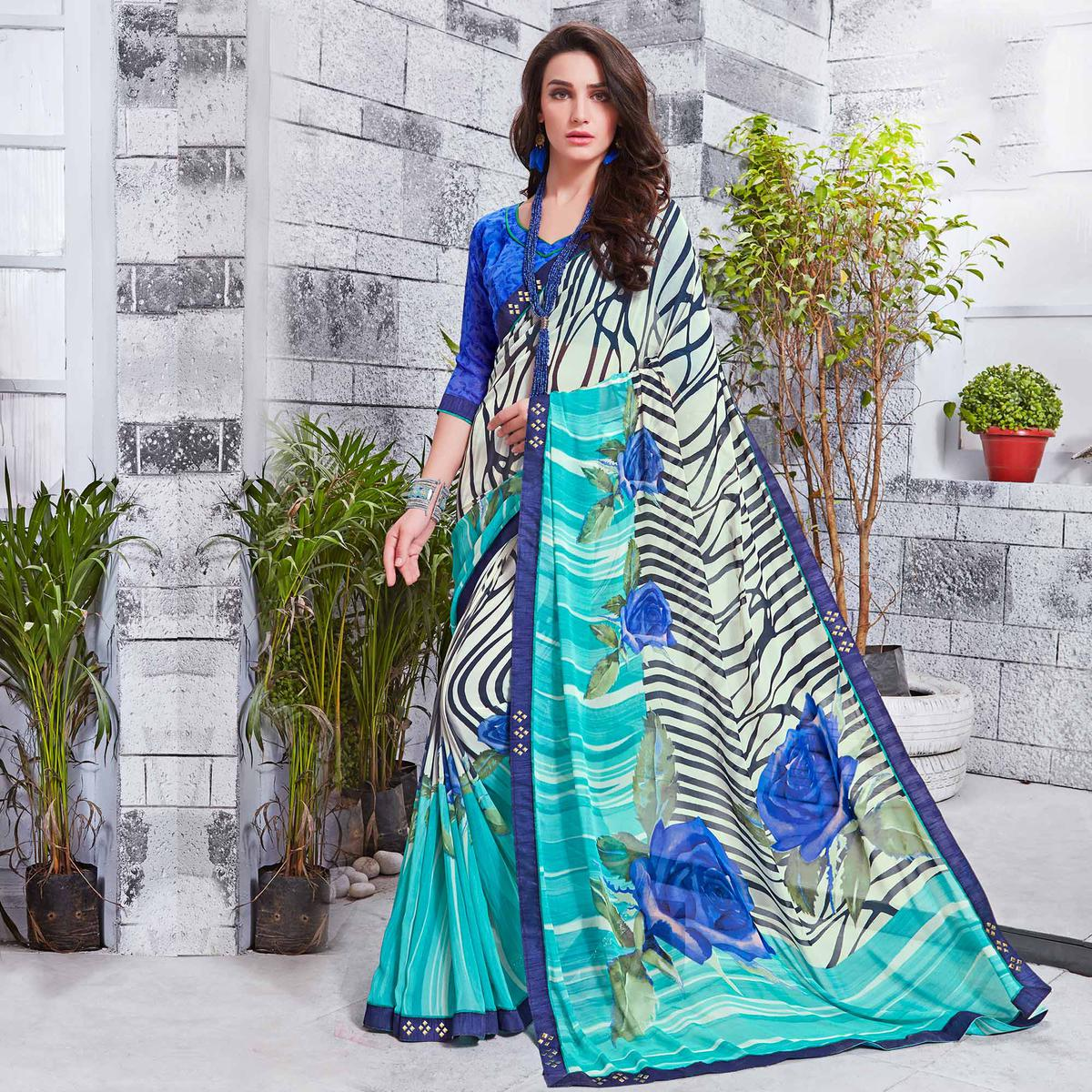 Trendy Off- White Printed Georgette Saree