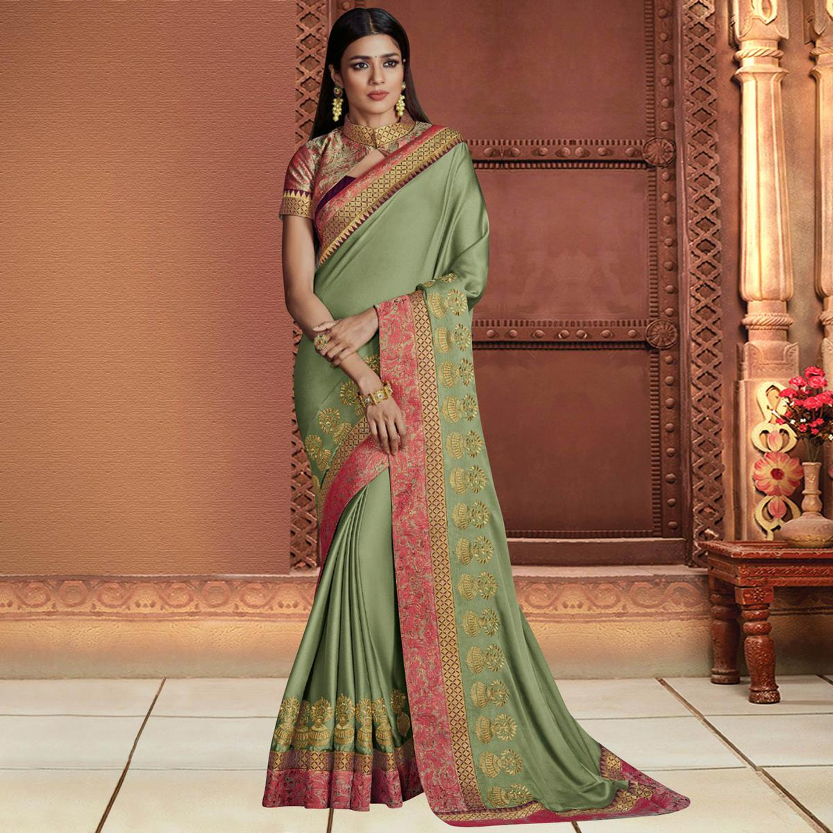 Refreshing Green Colored Partywear Embroidered Chiffon Saree